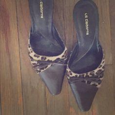 Liz Claiborne leopard kitten heel size 9.5 Small kitten heel open back Liz Claiborne heels. Hardly worn Liz Claiborne Shoes Heels