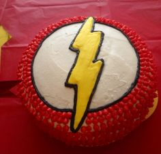 I made this Flash cake for my Son with the help of my daughter :)