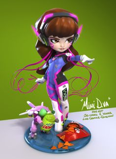 Mini D.va, Luis Gomez-Guzman on ArtStation at https://www.artstation.com/artwork/v5vgY