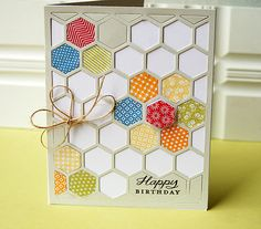 Hexagons Birthday Card by Danielle Flanders for Papertrey Ink (June 2012)