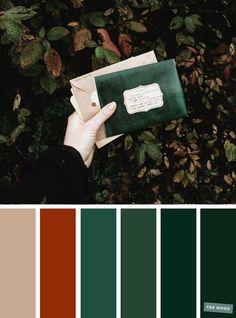 wedding colors Autumn green + burnt orange color s - Orange Color Schemes, Orange Color Palettes, Burnt Orange Color, Green Colour Palette, Green Colors, Color Combos, Green And Orange, Autumn Color Palette, Vintage Color Schemes