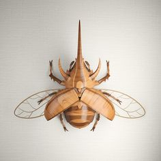Wooden Rhinoceros Beetle Art Print by JeremyKool - X-Small Beetle Insect, Insect Art, Cool Insects, Bugs And Insects, Sculpture Art, Sculptures, Cool Bugs, Bug Art, Beautiful Bugs