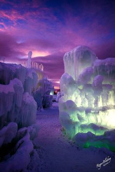 "~☆~ Spectacular purple hues of these Ice Castles in Silverthorne, Colorado ~☆~ Gorgeous sunset ~☆~ ""Another World"" photo by Roger Blakey ~☆~ Ice Castles, Famous Castles, Another World, Winter Scenes, Oh The Places You'll Go, Amazing Nature, Belle Photo, Beautiful World, Beautiful Places In Usa"