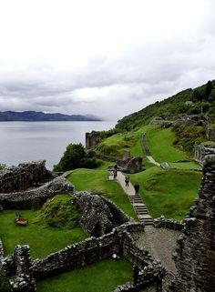 Urquhart castle lies on the shoreline of Loch Ness-Scotland