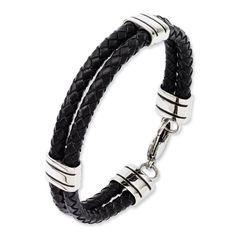 Black Bow Jewellery Company : Double Black Leather & Stainless Steel Bracelet - 9 Inch: Amazon.co.uk: Jewellery