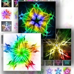 Digital Collage Sheet Glowing neon rainbow stars 1 inch digital collage sheet for scrabble tiles altered download art