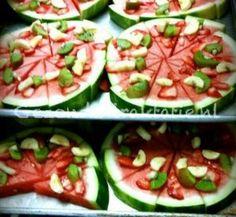 Gezonde traktatie; watermeloen pizza