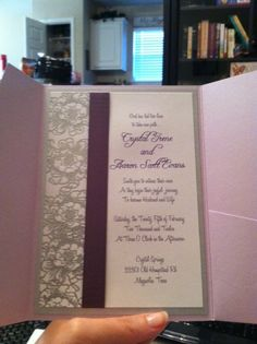 Wedding Invite :  wedding diy flowers invitations ivory purple silver white Roughdraft Invite