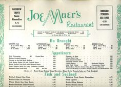 detroit the original joe muer restaurant | Details about Joe Muer's Restaurant Menu Detroit Michigan 1971