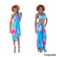 Hawaiian Floral Sarong (Indonesia) - Overstock™ Shopping - Big Discounts on 1 World Sarongs Sarongs/Cover Ups