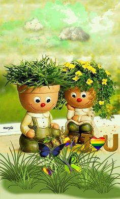 Cute little plants Beautiful Gif, Beautiful Flowers, Bisous Gif, Gif Bonito, Beau Gif, Foto Gif, Good Morning Gif, Gif Pictures, Jolie Photo