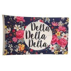 Delta Delta Delta Tri-Delta Sorority Floral Flag - Brothers and Sisters' Greek Store