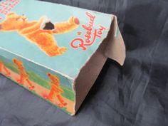 Vintage Walking Teddy Bear by Rosebud in oriiginal box Womans Weekly, Rose Buds, 1950s, Knitting Patterns, Walking, Teddy Bear, Doll, Crochet, Vintage