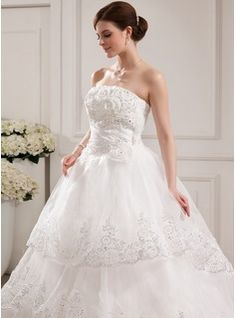 Ball-Gown Strapless Cathedral Train Satin Tulle Wedding Dress With Lace Beading Flower(s) (002019529) - JJsHouse