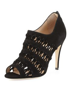 Pila Woven-Suede Bootie, Black by Manolo Blahnik at Bergdorf Goodman.