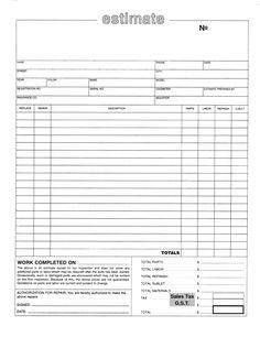 home repair estimate template