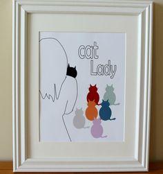 Cat Lady PRINT by colorschemes on Etsy, $9.00