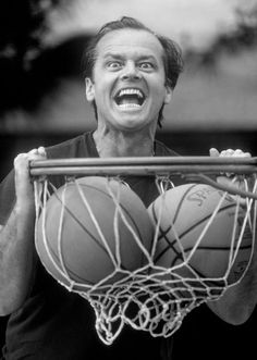 Jack Nicholson, photography, black and white, basket ball, net, ball, crazy, jumping, going nuts, cool, celeb, star, actor