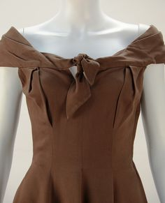 1930's Claire McCardell Brown Boatneck Dress at 1stdibs