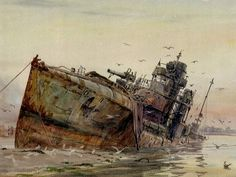 An early painting by the local Portsmouth artist William Wyllie of the former German Destroyer after it had been run aground by the Royal Navy on mudflats in Portsmouth harbour. Military Art, Military History, Navy News, Battle Fleet, Royal Navy Officer, Portsmouth Harbour, Ww1 Art, German Submarines, Abandoned Ships