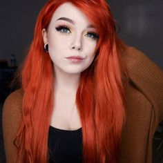 Preferred Human Hair Lace Front Wig Orange Long Straight Wigs for Women Dye My Hair, New Hair, Red Wigs, Hair Color Dark, Blonde Color, Green Hair, Red Orange Hair, Burnt Orange, Grunge Hair
