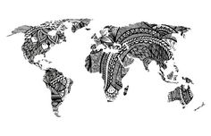 Design World Map Art Print black and white drawing by WestridgeART