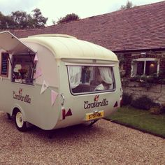 Olive the ice cream caravan serving up tasty ice cream at a lovely wedding at The Manor Barn, Hampshire
