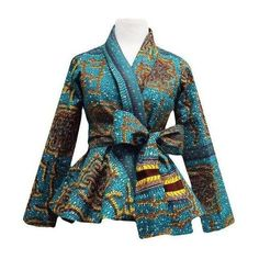 Diola African Print Peplum Blazer (Teal/Yellow) ❤ liked on Polyvore featuring outerwear, jackets, blazers, shawl collar blazer, african jackets, teal blazer, long sleeve jacket and peplum blazer