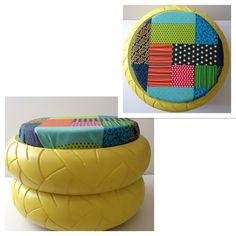 tire ottoman pouf pneu recycl geo triangle jaune le designer du recyclage tire ottoman le. Black Bedroom Furniture Sets. Home Design Ideas