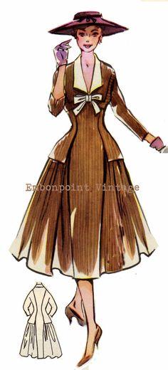 Vintage Sewing Pattern 1956 Dress PDF Plus by EmbonpointVintage