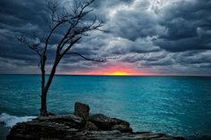 Stormy days bring brilliant sunsets.  Looking out over the Atlantic from Bimini.