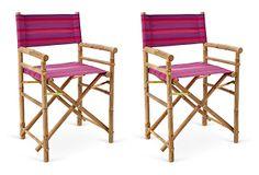 One Kings Lane - Prep Your Patio - Fuchsia Director's Chair, Pair