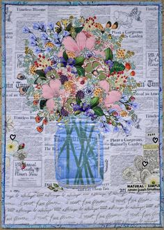She'll be showing 15 of her…Intro to Collage Quilting Retreat - Cate's Sew Modernstill life, fiber art, art quilt, tulips, vaseNo photo description available. Laura Heine, Flower Quilts, Textiles, Landscape Quilts, Quilted Wall Hangings, Arte Floral, Applique Quilts, Fabric Art, Pattern Paper