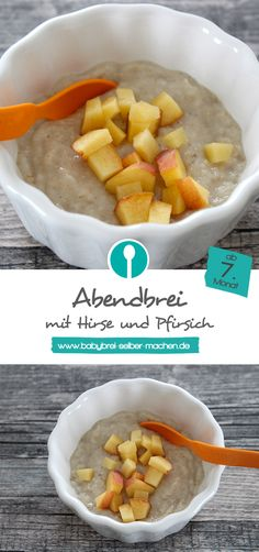 Abendbrei (Milch-Getreidebrei) mit Pfirsich: Rezept für Babys ab dem 7. Monat.