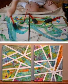 Easy modern art with tape and paint!