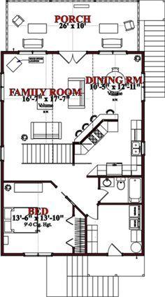 Cottage Style House Plan - 2 Beds 2 Baths 1536 Sq/Ft Plan #63-354 Floor Plan - Main Floor Plan - Houseplans.com