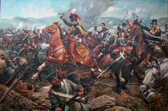 The Charge of the Light Brigade was a charge of British light cavalry, led by Lord Cardigan, against Russian forces during the Battle of Balaclava on 25 October 1854, in the Crimean War. {painting by Cecil Doughty}