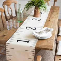 How to make a cute table runner out of a drab hardware-store dropcloth.  This would be so fun for all my seamstress daughters and friends!