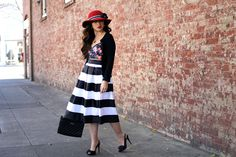 striped midi skirt + floral top