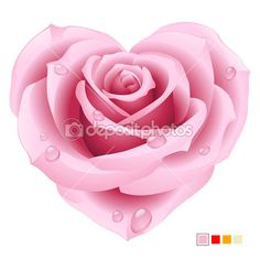 pink rose tatoo | dep_4209121-Vector-pink-rose-in-the-shape-of-heart.jpg ... | Tattoos