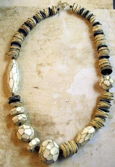 """Tribal Jewelry - Unique Chain """"White"""" Sewing - a designer piece of MargitB-kind jewelry"""