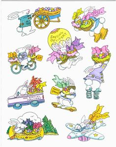 Vintage Funny Special Delivery Easter Bunny Stickers Sheet | eBay