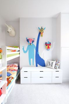 "A Small, Renovated ""Eclectic Scandinavian"" West London Home - Finding a narrow bunk bed for the children's room was a challenge for the couple, but they manage - Kids Bedroom, Bedroom Decor, Kids Rooms, Wall Decor, Diy Wall, Wall Art, Modern Bedroom, Childrens Bedroom, Bedroom Lighting"