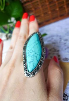 huge turquoise rings !