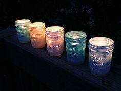 1/2 pint painted mason jars as tiny lanterns