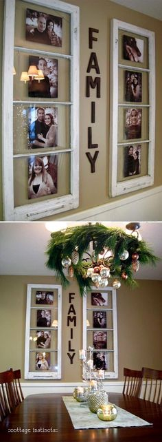 Have some old windows sitting in the garage that are classified as junk? Well think again. This really neat tutorial shows you how you can turn your junk into some very creative home decor. Old windows to display family photos who would have thought? Easy Home Decor, Cheap Home Decor, Home Decor Ideas, Home Decor Country, Country Living Room Rustic, Country Family Room, Country Interiors, Country Bedrooms, Foyer Ideas