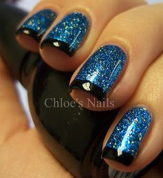 blue glitter nails with black tips