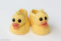 Duckling Baby Booties - Free Crochet Pattern