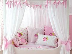 I love how the curtains are tied on plus the big bow. Think lavender - she'll love it!