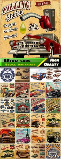 Винтажные постеры с ретро автомобилями - векторный клипарт